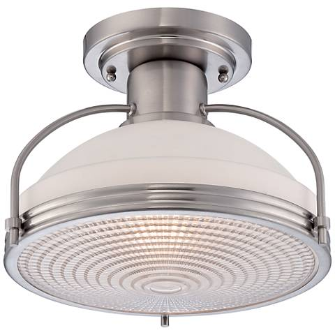 "Quoizel Warren 13 1/2"" Wide Brushed Nickel Ceiling Light"