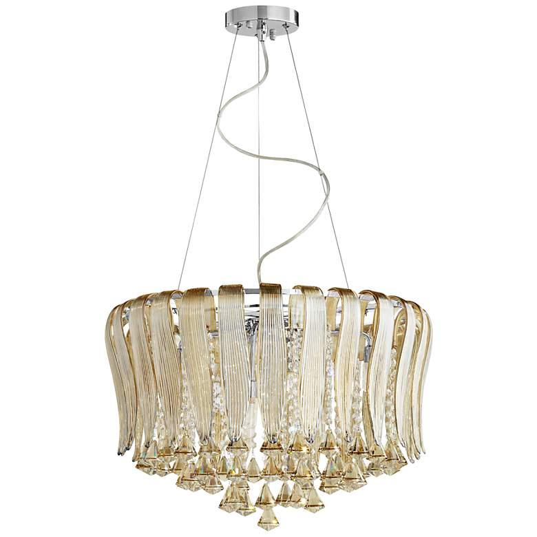 "Olivia 23 1/4"" Wide Murano Cognac Glass 8-Light Pendant"