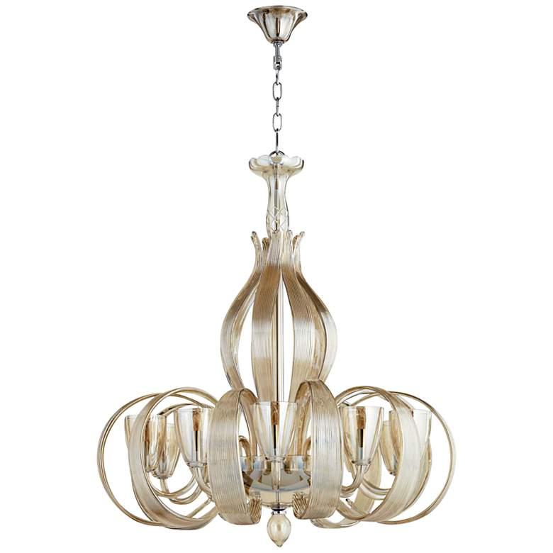 "Lucile 32"" Wide Murano Cognac Glass 10-Light Chandelier"