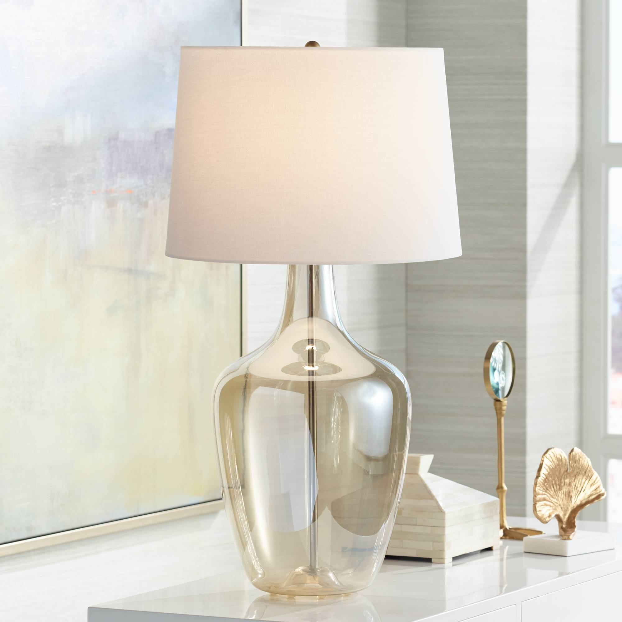 Details about Modern Table Lamp Clear Champagne Glass Jar for Living Room  Family Bedroom