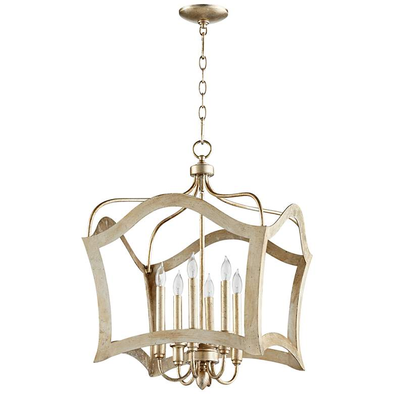 """Milan 25"""" Wide Aged Silver Leaf 6-Light Iron Pendant"""