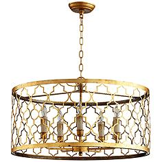 "Romeo 26"" Wide Gold Leaf Iron and Glass Pendant"