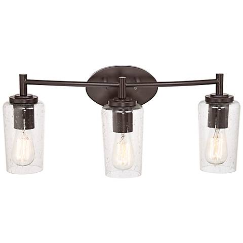Quoizel Edison 23 Wide Bronze 3 Light Bathroom Fixture