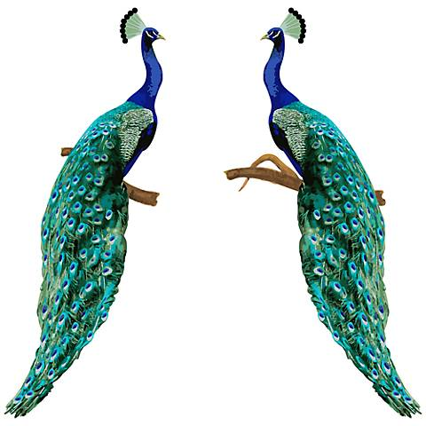 Perching Peacocks Set of 2 Designer Wall Decals
