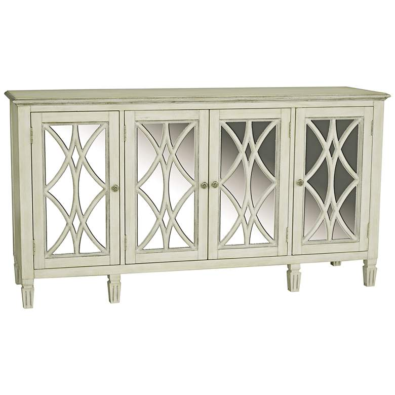 "Emila 64"" Wide Florence White 4-Door Mirrored Server Table"
