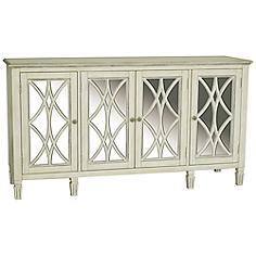 Pulaski Emila Florence White Mirror 4-Door Server Table