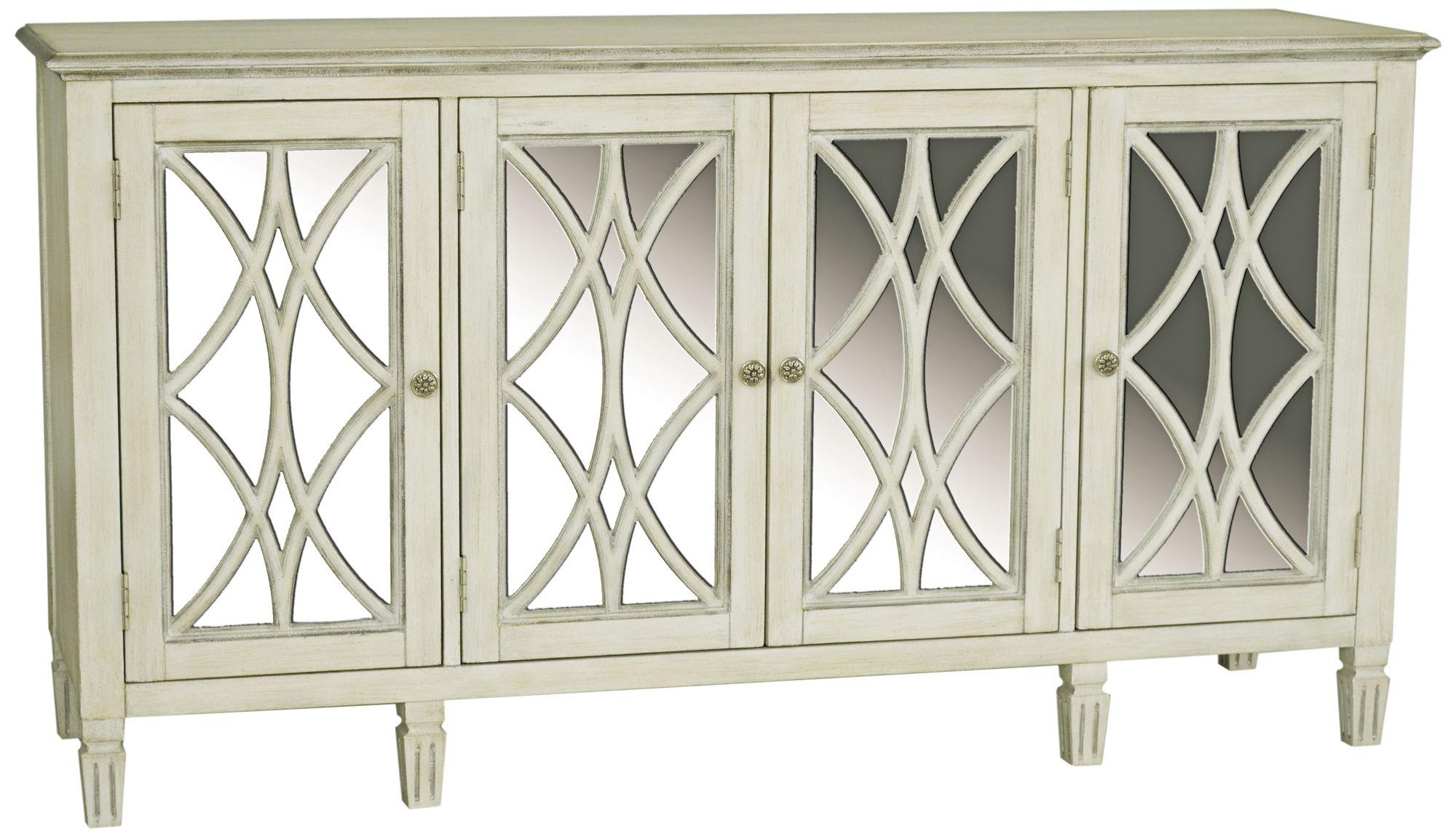 Pulaski Emila Florence White Mirror 4 Door Server Table