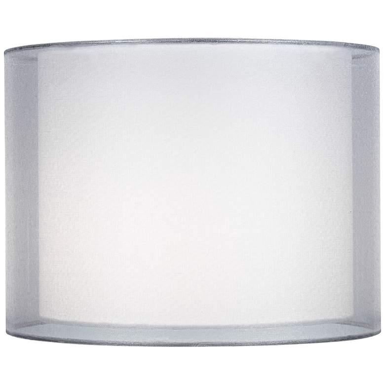 Silver And White Double Sheer Shade 12x12x9 Spider 6t652 Lamps Plus