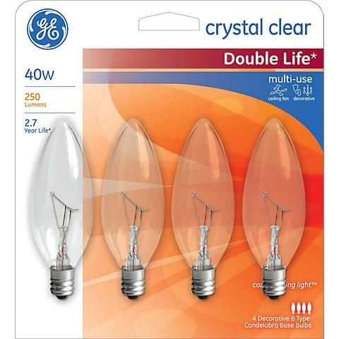 40 Watt Blunt–Tip Candelabra Base Light Bulbs Pack of 4