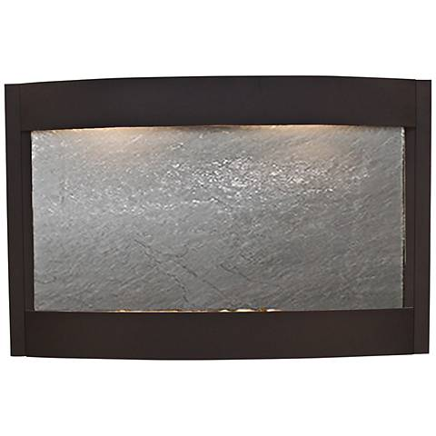 """Calming Waters Black Stone Textured Black 35""""H Wall Fountain"""