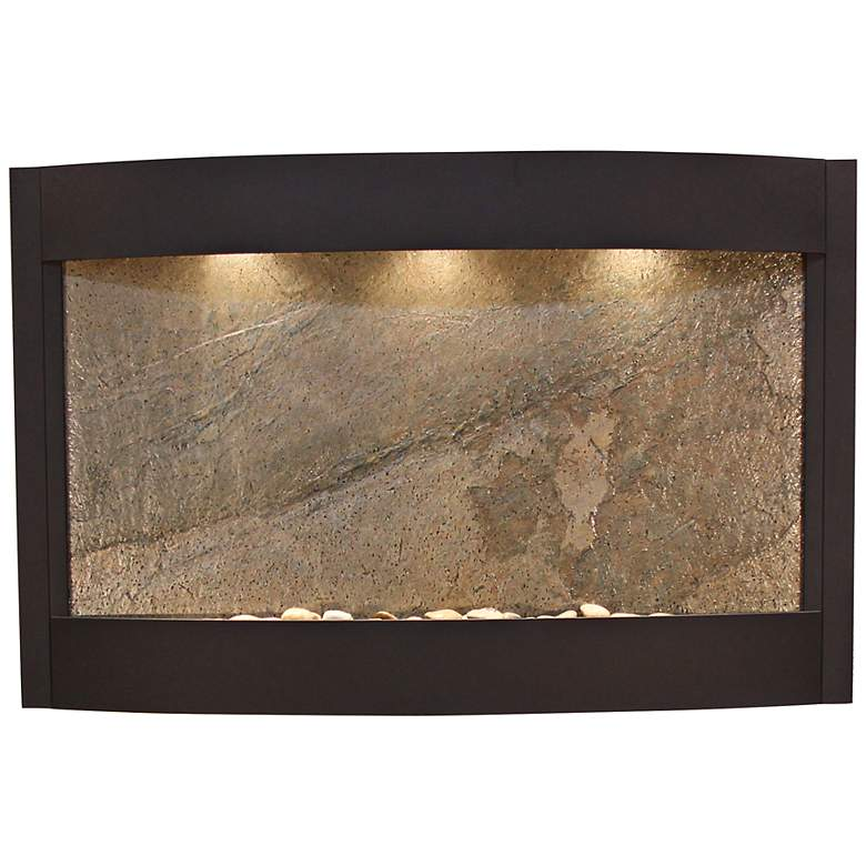 "Calming Waters Green Stone Textured Black 35""H Wall Fountain"