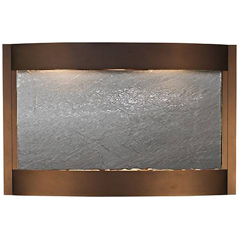 """Calming Waters Black Stone Antique Bronze 35""""H Wall Fountain"""