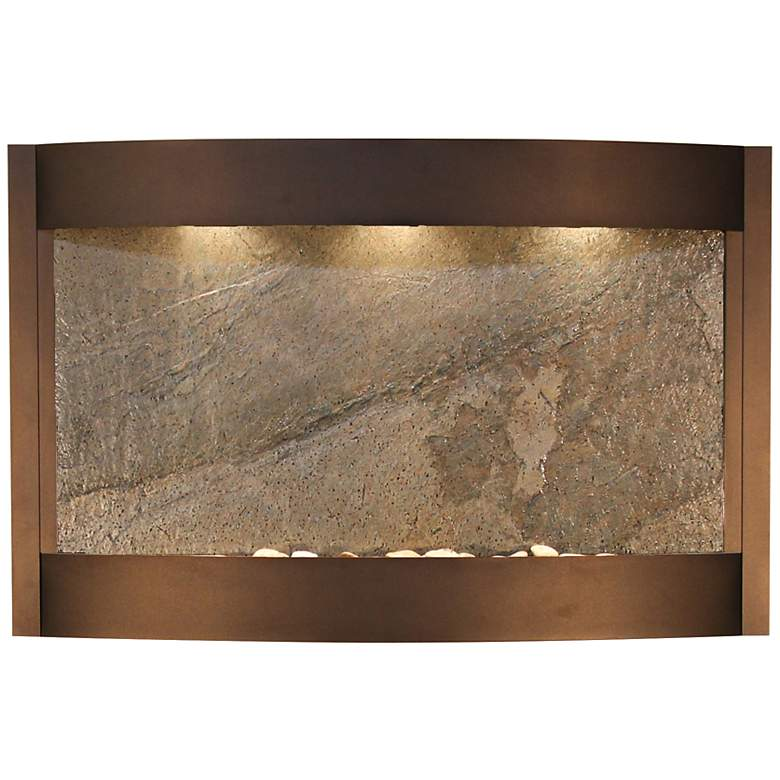 """Calming Waters Green Stone Antique Bronze 35""""H Wall"""