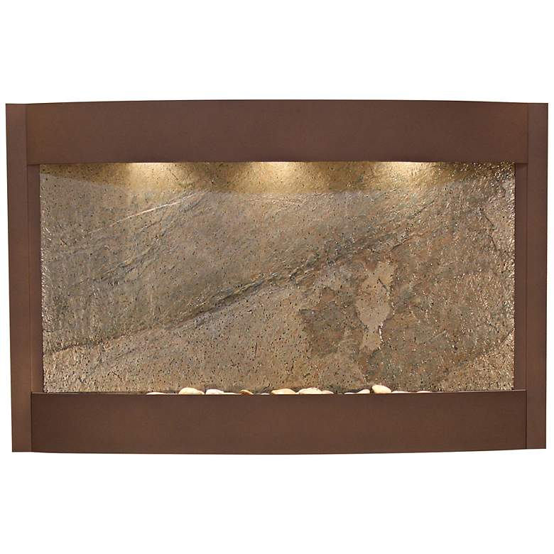 "Calming Waters Green Stone Woodland Brown 35""H Wall"