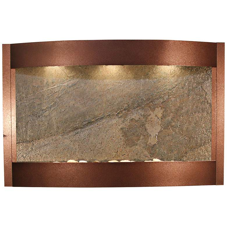 """Calming Waters Green Stone Copper Vein 35""""H Wall Fountain"""