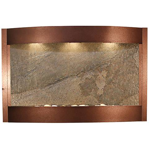 "Calming Waters Green Stone Copper Vein 35""H Wall Fountain"