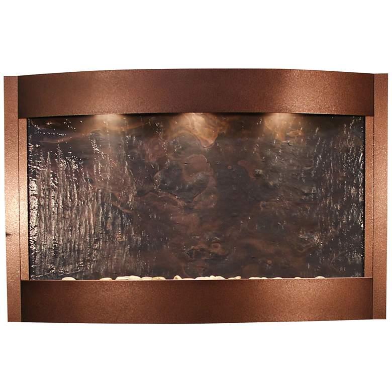"Calming Waters 35"" High Copper Vein Modern Wall Fountain"
