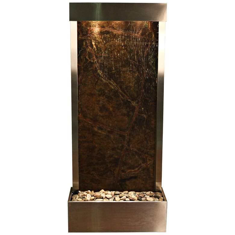 "Harmony River Steel 70"" High Indoor Green Marble Fountain"
