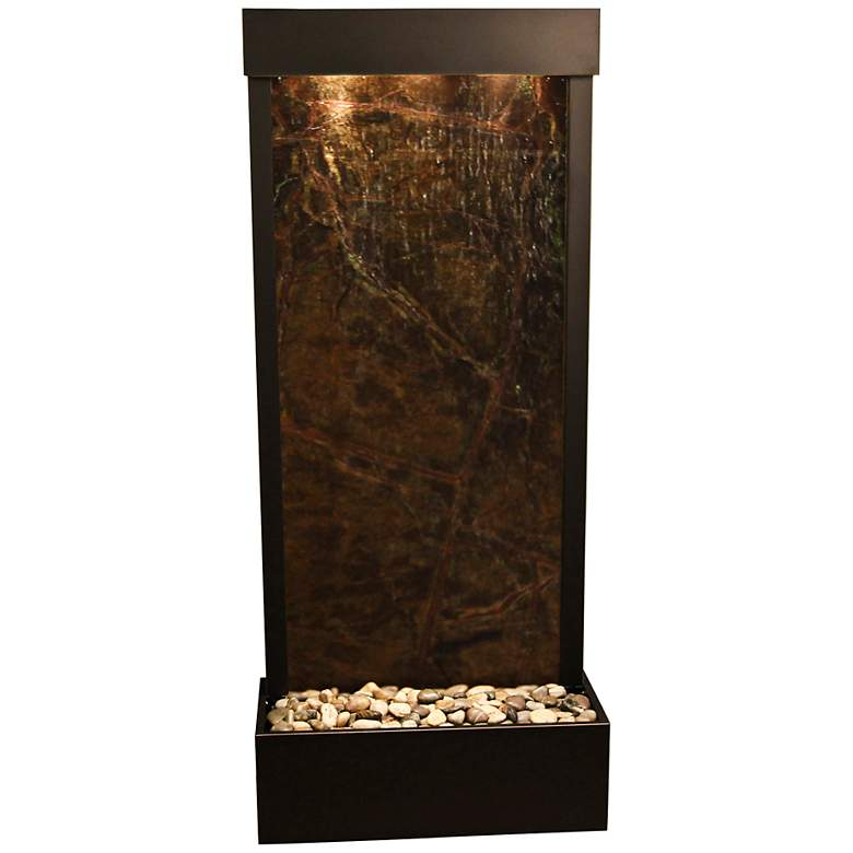 """Harmony River Black Copper Indoor Green Marble 70""""H Fountain"""