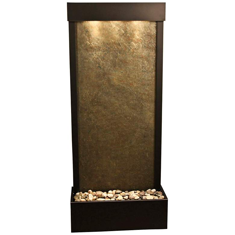 """Harmony River 70""""H Bronze Indoor Green Featherstone Fountain"""
