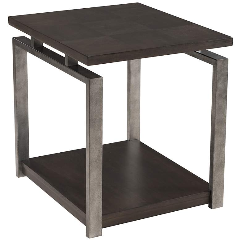 "Alton 26"" Wide Platinum Charcoal and Metal End Table"