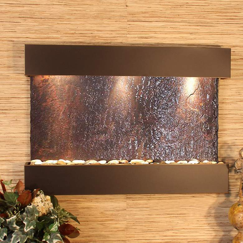 "Reflection Creek Slate Blackened Copper 27""H Wall Fountain"
