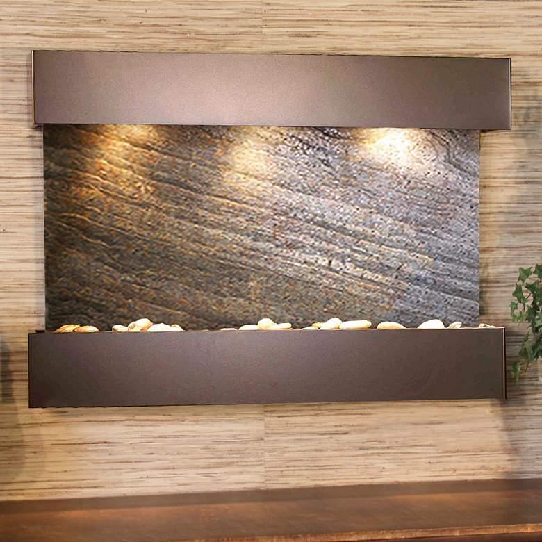 "Reflection Creek Green Stone Bronze 27"" High Wall Fountain"