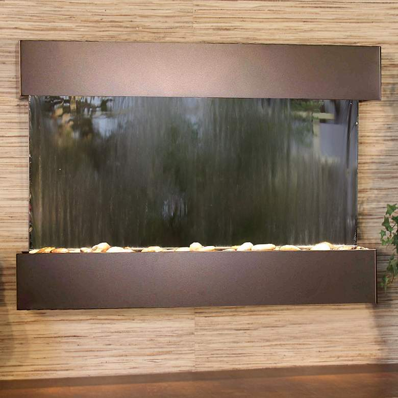 "Reflection Creek 27"" High Mirror Bronze Modern Wall"