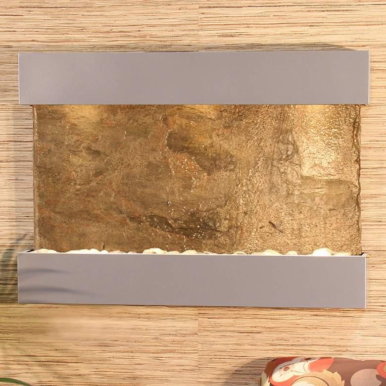 """Reflection Creek 38"""" Wide Green Slate Silver Wall"""