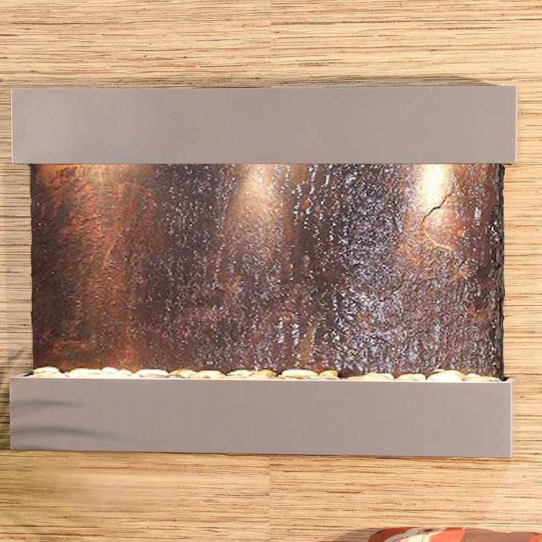 "Reflection Creek 38"" Wide Slate-Silver Modern Wall Fountain"