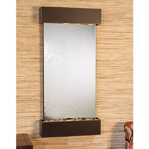 "Whispering Creek Mirror Blackened Copper 46""H Wall Fountain"