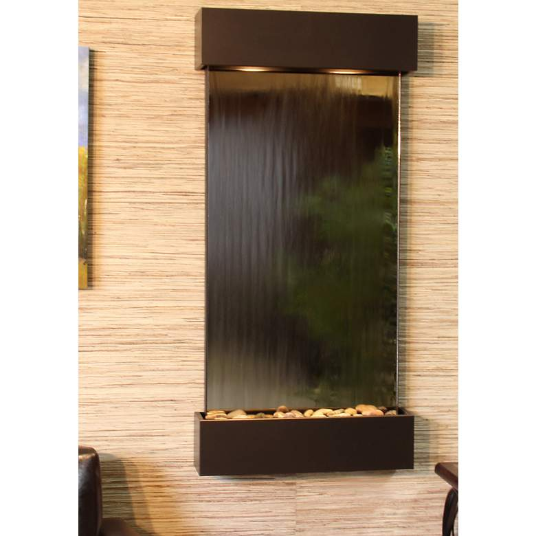 "Whispering Creek Mirror Bronze 46"" High Wall Fountain"