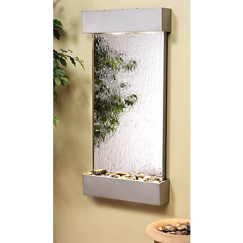 "Whispering Creek Mirror Silver 46"" High Wall Fountain"