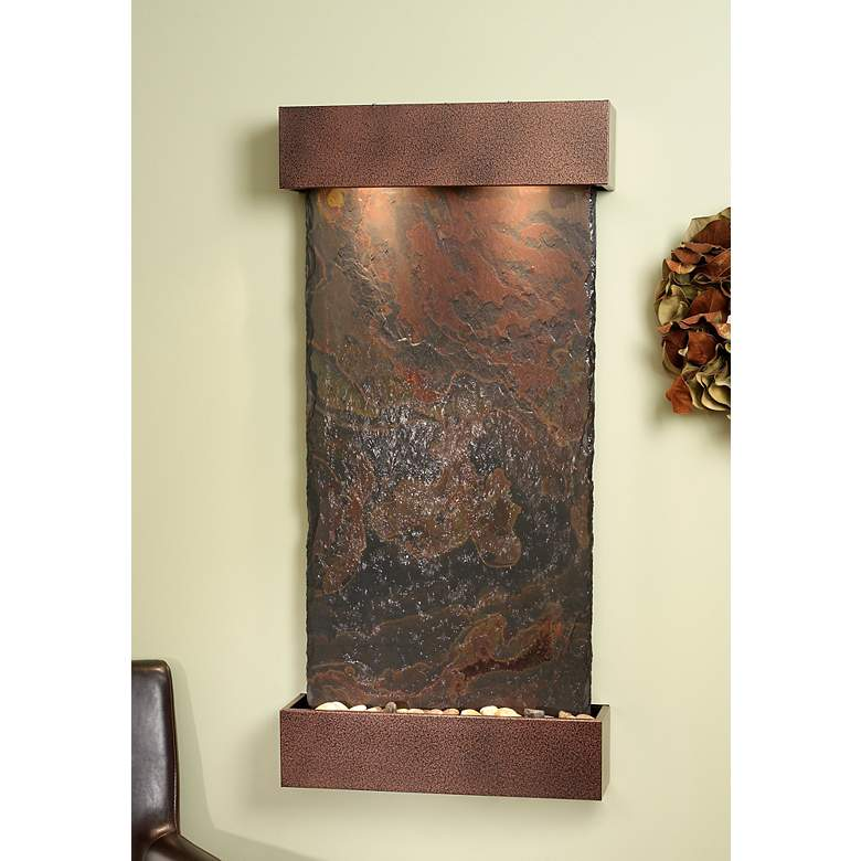 "Whispering Creek Slate Copper Vein 46"" High Wall Fountain"