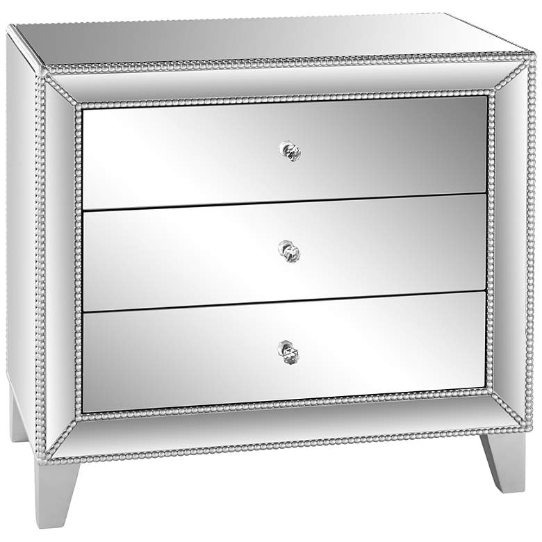 """Liza 30"""" Wide Mirrored 3-Drawer Accent Table"""