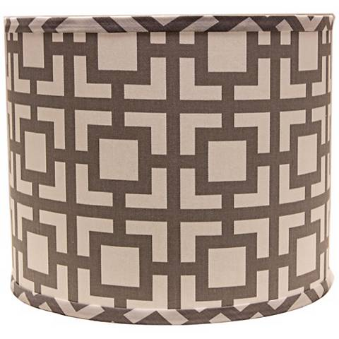 Gray Modern Square 12x12x10 Drum Shade (Spider)