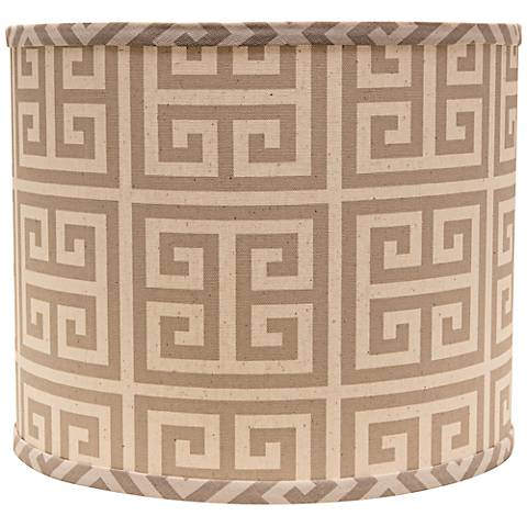 Taupe Greek Key 14x14x11 Drum Shade (Spider)
