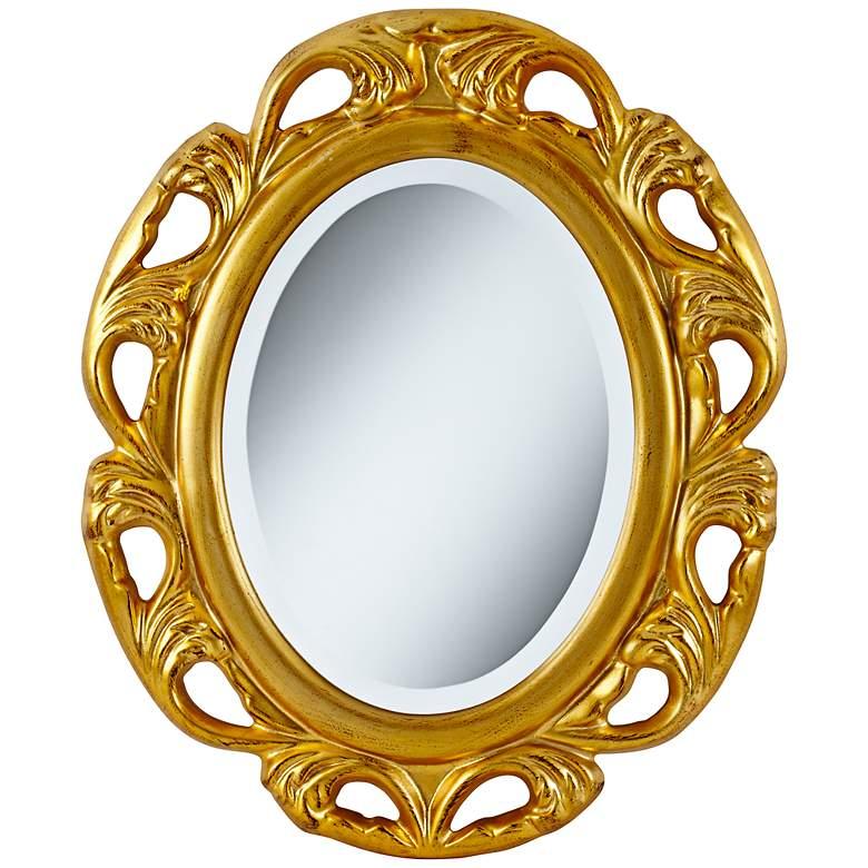 "Moraga Gold 23 1/4"" x 19 1/2"" Oval Wall Mirror"