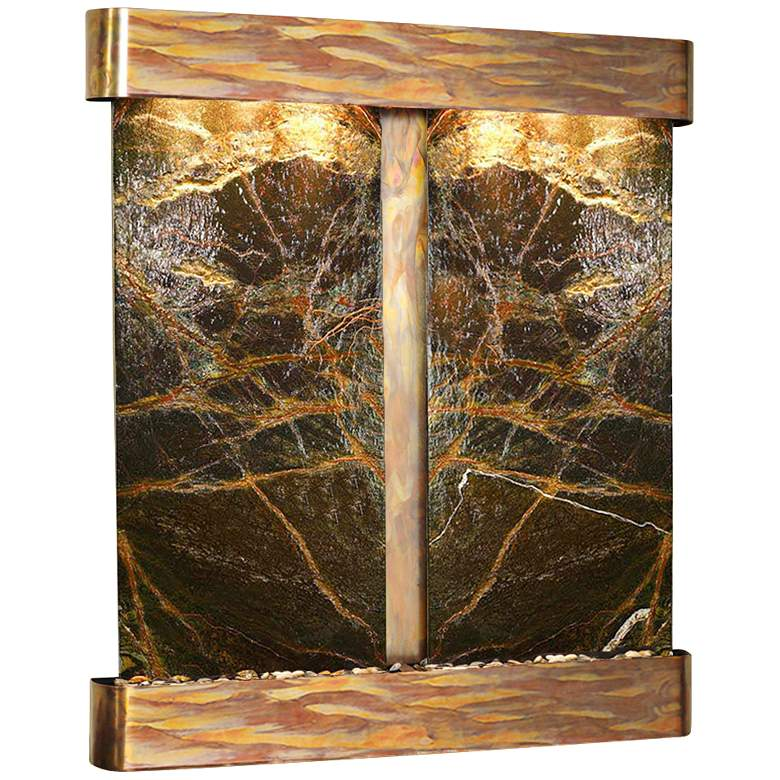 Cottonwood Falls Green Marble Round Copper Wall Fountain