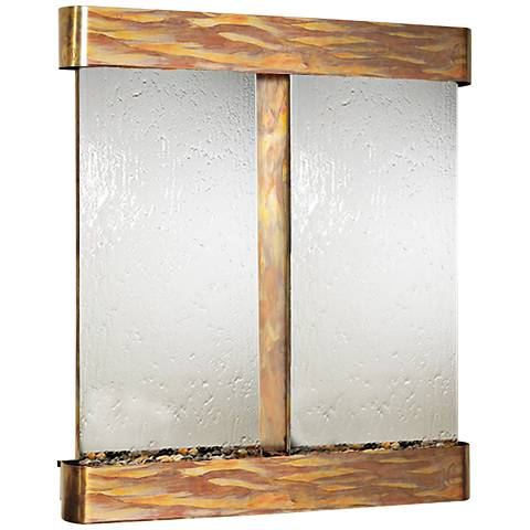 """Cottonwood Falls Mirrored Round Copper 69""""H Wall Fountain"""