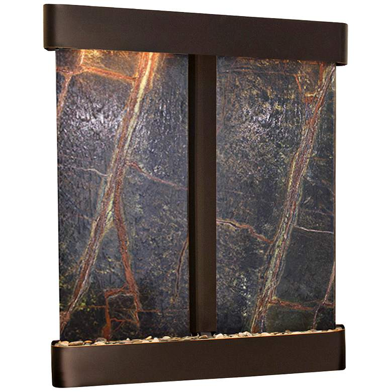 "Cottonwood Falls 61"" Wide Blackened Copper Wall Fountain"