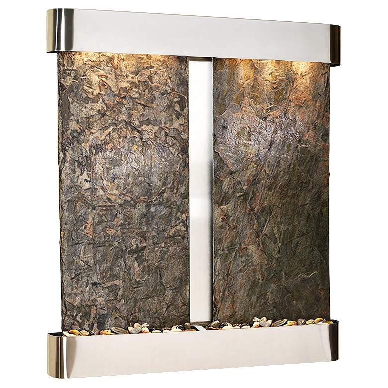 "Cottonwood Falls Round Steel Green Slate 69""H Wall Fountain"