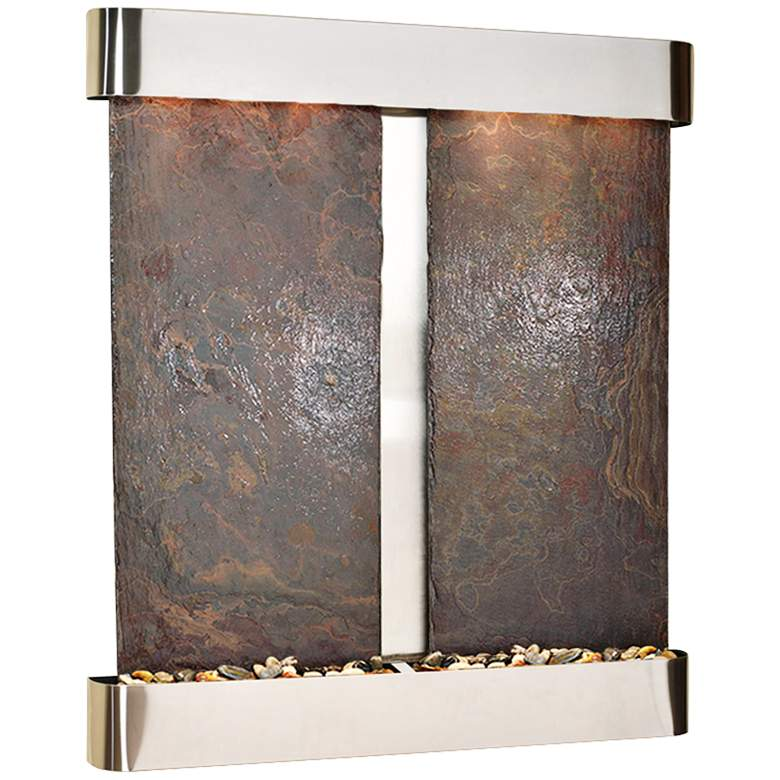 """Cottonwood Falls Round Steel Multicolor 69""""H Wall Fountain"""