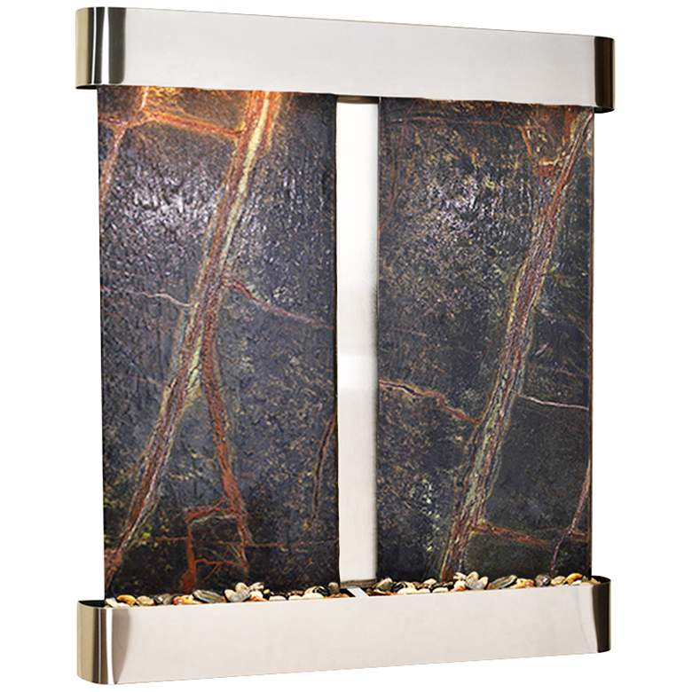 """Cottonwood Falls Round Steel Green Marble 69""""H Wall Fountain"""