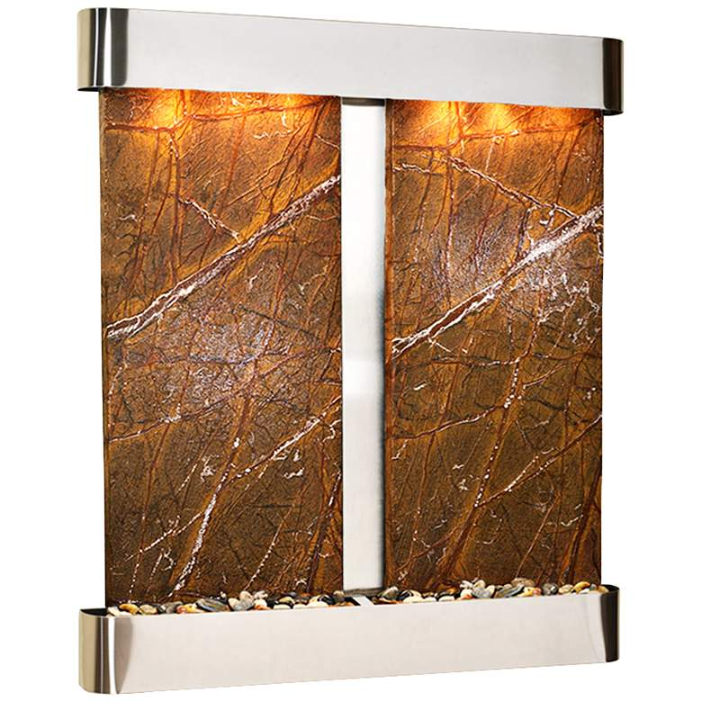 """Cottonwood Falls Round Steel Brown Marble 69""""H Wall Fountain"""