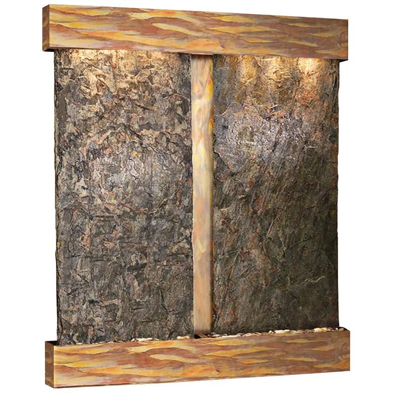Cottonwood Falls Rustic Copper Green Slate Wall Fountain