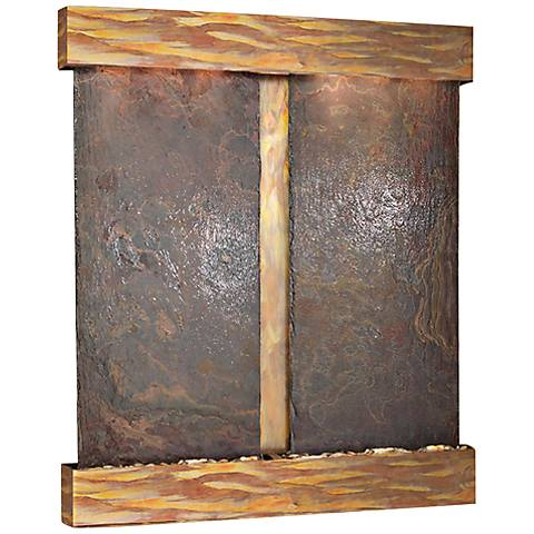 "Cottonwood Falls Rustic Copper Slate 69"" High Wall Fountain"