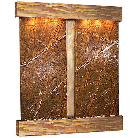 Cottonwood Falls Rustic Copper Brown Marble Wall Fountain