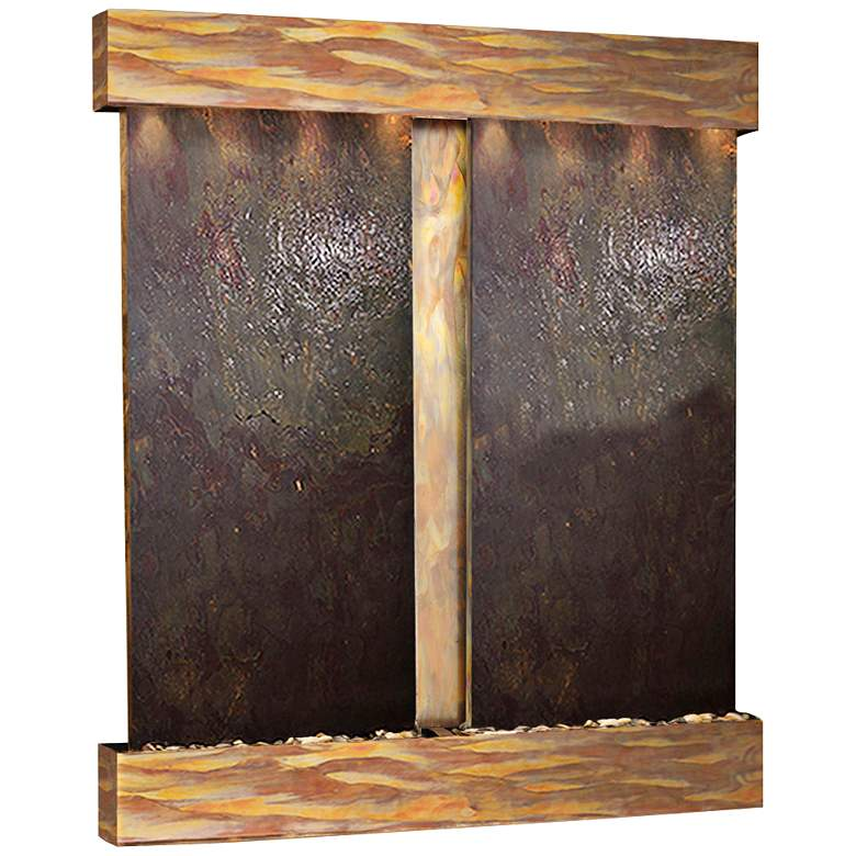 "Cottonwood Falls 61"" Wide Rustic Copper Wall Fountain"