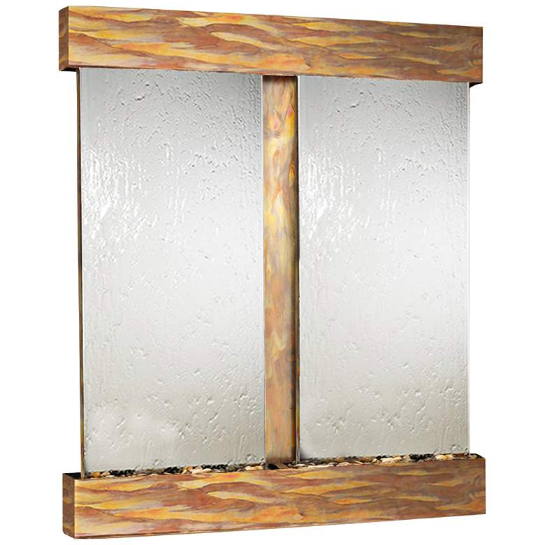 "Cottonwood Falls Rustic Copper Mirrored 69""H Wall Fountain"